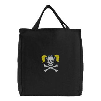Crânio da menina com o saco bordado tranças bolsas de lona