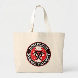 Crânio da segurança do zombi da pátria - vermelho sacola tote jumbo