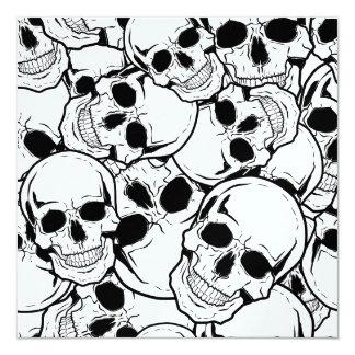 Crânio de balanço convite quadrado 13.35 x 13.35cm