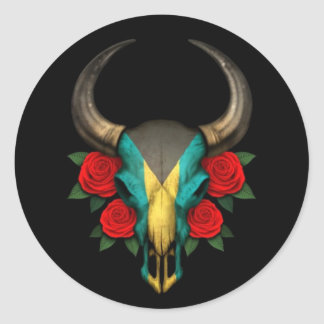 Crânio de Bull da bandeira de Bahamas com rosas Adesivo
