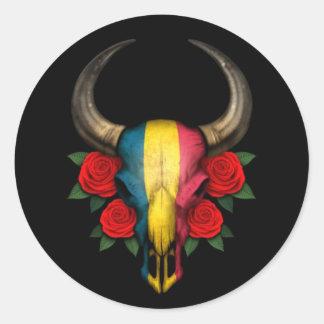 Crânio de Bull da bandeira de República do Tchad Adesivo Redondo