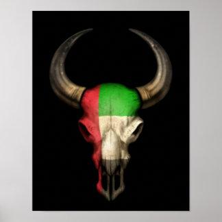 Crânio de Bull da bandeira de United Arab Emirates Pôsteres