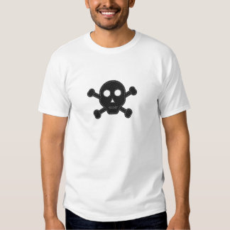 Crânio de feltro do preto camisetas