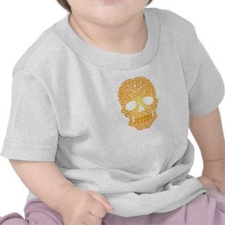 Crânio de roda amarelo do açúcar tshirt