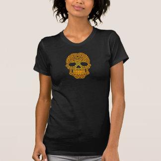 Crânio de roda amarelo do açúcar camiseta