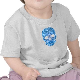 Crânio de roda azul do açúcar tshirt