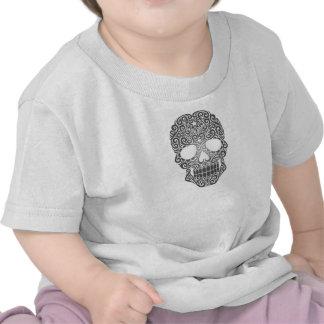 Crânio de roda cinzento do açúcar camiseta