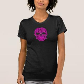 Crânio de roda cor-de-rosa do açúcar t-shirts
