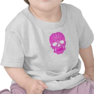 Crânio de roda cor-de-rosa do açúcar tshirts