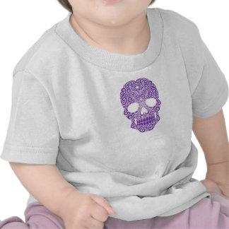 Crânio de roda roxo do açúcar camisetas