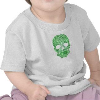 Crânio de roda verde do açúcar camiseta