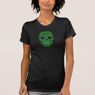 Crânio de roda verde do açúcar tshirt