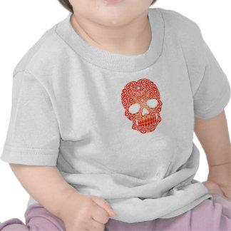 Crânio de roda vermelho do açúcar tshirt
