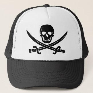Crânio de sorriso simples do pirata com espadas boné