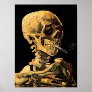 Crânio de Van Gogh com o poster ardente do cigarro