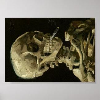 Crânio de Van Gogh do esqueleto com cigarro Poster