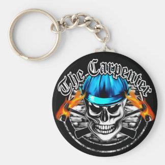 Crânio do carpinteiro e capacete de segurança azul chaveiro