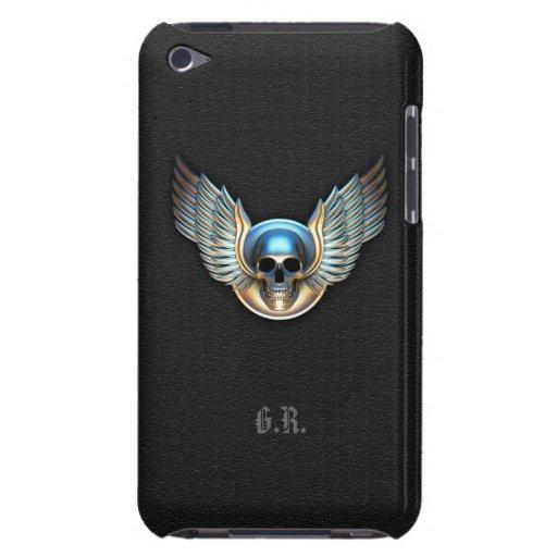 Crânio do cromo e capa do ipod touch das asas