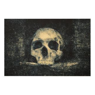 Crânio do horror do Dia das Bruxas Impressão Em Madeira