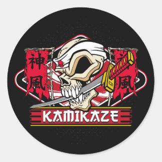 Crânio do Kamikaze com espada japonesa Adesivos Redondos