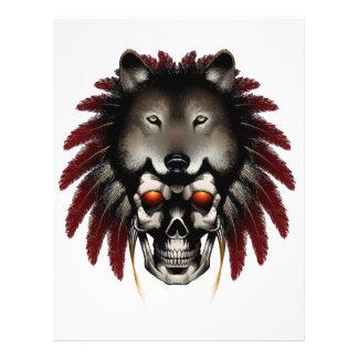 Crânio do nativo americano com o lobo pelo pedreir