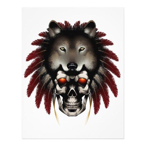 Crânio do nativo americano com o lobo pelo pedreir panfletos coloridos