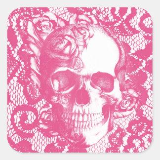 Crânio do rosa do rosa de Bubblegum no laço Adesivo Quadrado