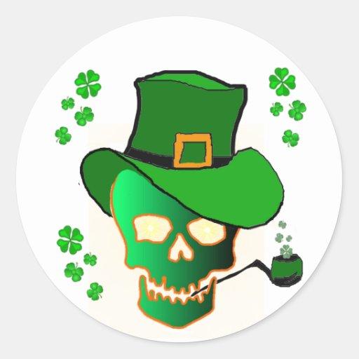 Crânio do St. Patricks Adesivo Redondo