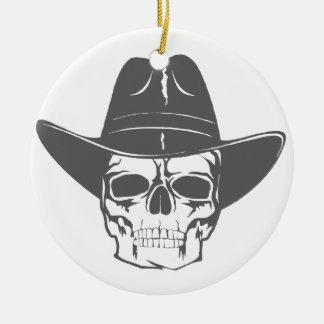 Crânio do vaqueiro com chapéu ornamento de cerâmica redondo