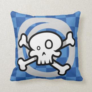 Crânio dos desenhos animados & redemoinho dos osso travesseiro