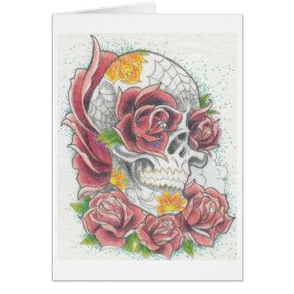 Crânio e cartão cor-de-rosa por Dana Tyrrell