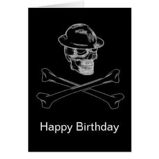 Crânio e cartão de aniversário enegrecidos dos