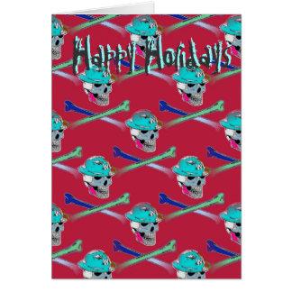 Crânio e cartão dos Crossbones boas festas