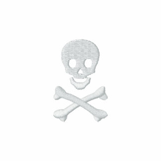 Crânio e Crossbones Camiseta Bordada Polo