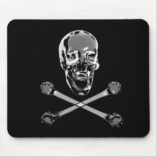 Crânio e Crossbones do pirata do cromo Mouse Pad