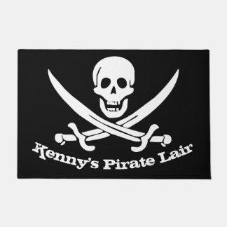Crânio e cutelo personalizados toca do pirata tapete