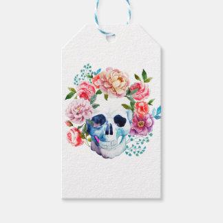 Crânio e flores artísticos da aguarela etiqueta para presente