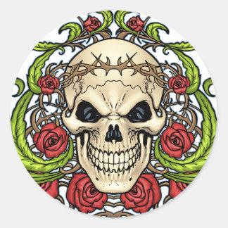 Crânio e rosas com a coroa de espinhos pelo Al Rio Adesivo