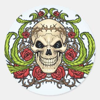 Crânio e rosas com a coroa de espinhos pelo Al Rio Adesivos
