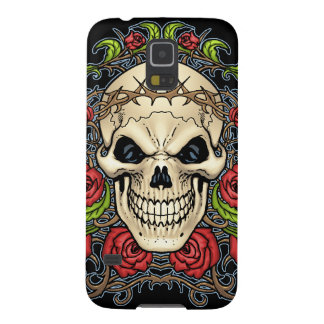 Crânio e rosas com a coroa de espinhos pelo Al Rio Capas Par Galaxy S5