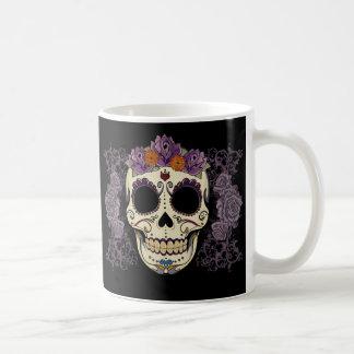 Crânio e rosas do vintage caneca de café