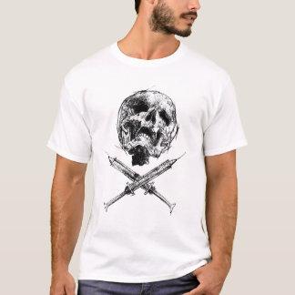 Crânio e seringas camiseta