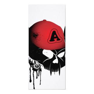 Crânio engraçado com chapéu vermelho convite 10.16 x 23.49cm