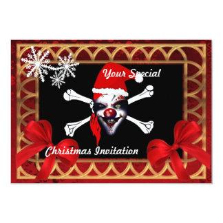 Crânio engraçado do pirata, Natal Convites Personalizado