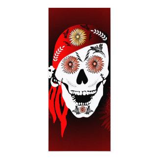 Crânio engraçado do suger com lenço vermelho convite 10.16 x 23.49cm