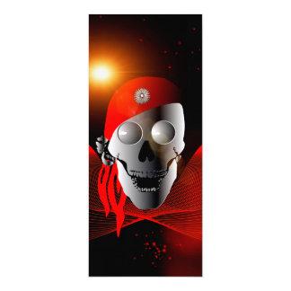 Crânio engraçado feito do metal com lenço convite 10.16 x 23.49cm