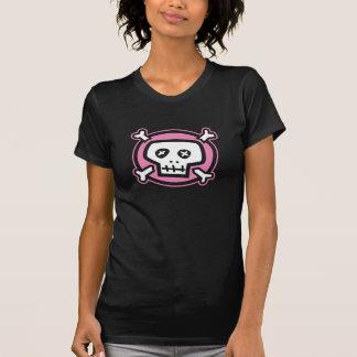 crânio feminino cor-de-rosa camiseta