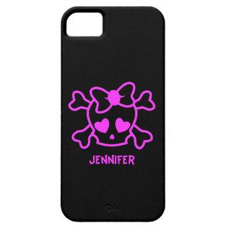 Crânio feminino cor-de-rosa do emo com arco capa para iPhone 5