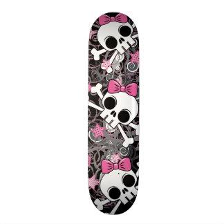Crânio feminino e Crossbones Skates Personalizados