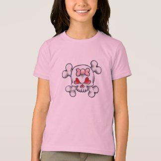 Crânio feminino e ossos camiseta